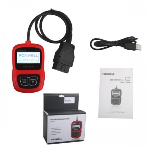 Foxwell  NT200 CAN OBDII/EOBD Code Reader Multi-Languages Update Free Lifetime