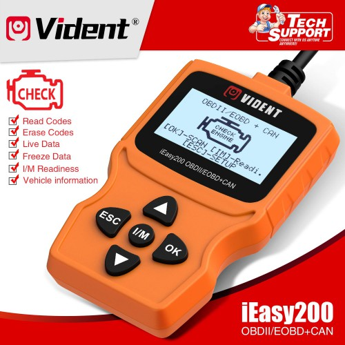 VIDENT iEasy200 OBDII/EOBD+CAN Code Reader for Vehicle Checking Engine Light