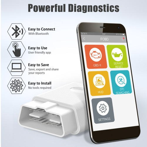 Fcar FOBD Service Reset Tool and Play Auto Diagnostic for Android & IOS Phone APP