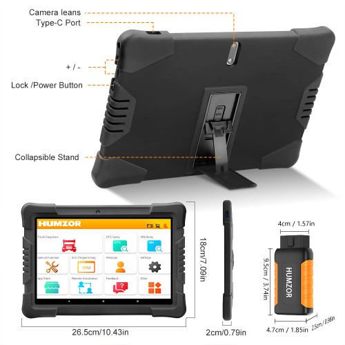 Humzor NexzDAS ND506 Plus Diagnostic Tool with 10 Inch Tablet for 12V-24V Diesel Commercial Vehicles Full Version with 10 Converters