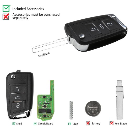 [UK/EU Ship No Tax] XHORSE XEMQB1EN Super Remote Key MQB Style 3 Buttons Built-in Super Chip English Version 5pcs/lot