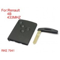 Half Smart Remote Key 4 Buttons 433MHZ PCF7941 (After Market) Sliver Logo for Renault Koleos