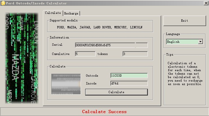 Outcode/Incode Calculator +SW Dongle+2000 Tokens For Ford