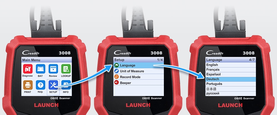 Launch CR3008 Change Language