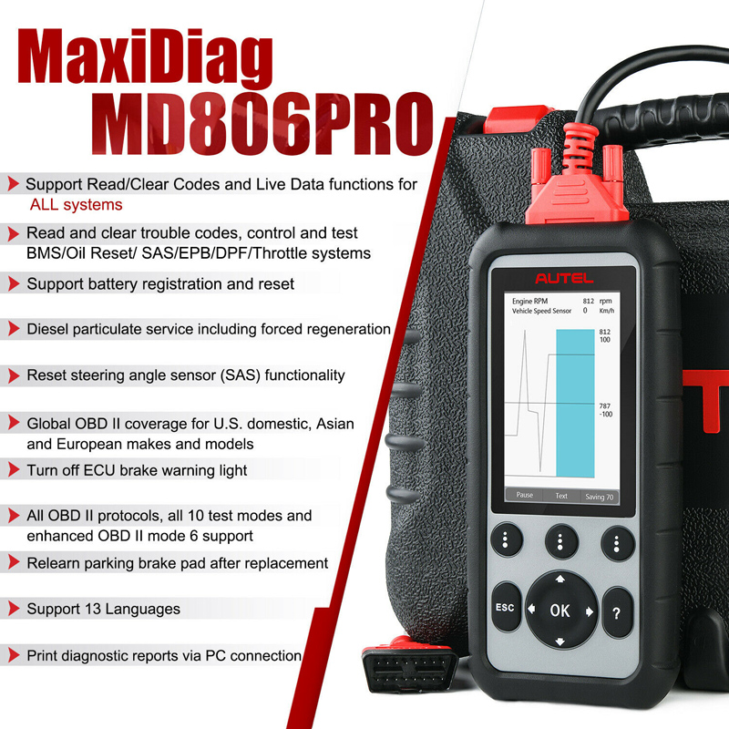 Original Autel MaxiDiag MD806 Pro Full System Diagnostic Tool  Multi-Language OBD2 Scanner same function as MD808 Pro Free Update All  Life-Time