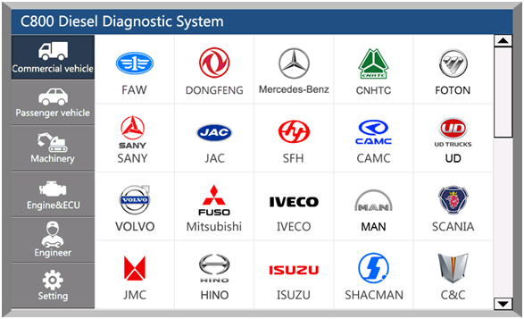 C800-truck-and-heavy-duty-diagnostic-tool-Vehicles-list-1